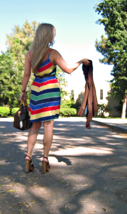 chevron striped dress+clogs