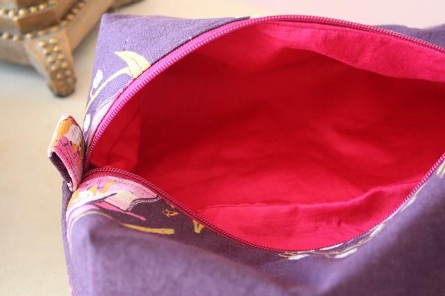 pink lining zipper pouch
