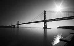 (_dpn_) Tags: ocean california bridge sky sun white black water canon landscape bay san francisco long exposure landmark filter nd 5d markii