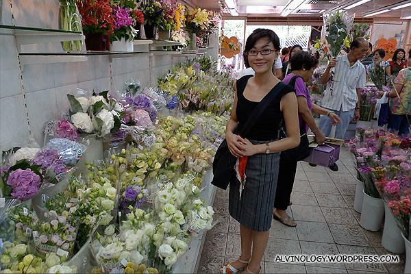Rachel inside a flower shop