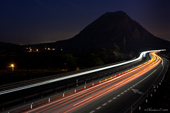 No speed limits (Christian Callejas) Tags: road red sky white mountain cars blanco 30 night speed canon puente lights luces noche rojo carretera alicante cielo montaa velocidad coches seconds flechas lineas limits seales 1000d yokusho
