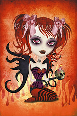 Fallen Angel ( sandygrafik ) Tags: red sexy illustration vampire gothic hell gargoyle devil corset pinup shedevil