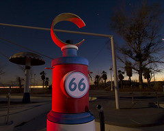 Eon 66 (Lost America) Tags: lightpainting abandoned night route66 desert fullmoon gaspump waterpark startrails rockahoola lakedolores