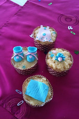 Baby shower cuppies! (Xquisite cakes) Tags: pink flowers blue brown flower cake yummy pretty teal ganache delicious pa cupcake icing vanilla dummy booties babyshower embossed frosting pacifier babybottle babyblanket fondant babydress cuppy whitecake babyshowercupcakes sugarpaste cuppie flowerpaste shimmerdust
