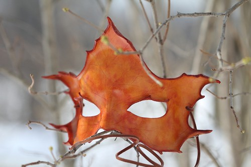 Orange Maple Handmade Leather Mask