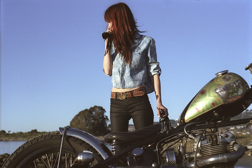 Sara and her Triumph motorcycle
