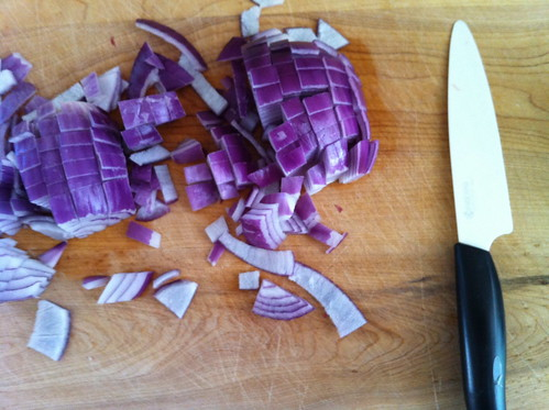 chopping purple onion for the steak pie