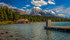 """Happy Canada Day. (Ian Emerson """"I'm Back"""") Tags: canada landscape rockies lake snow mountains jetty boathouse scenic trees pine outdoor beauty canon"""