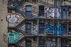 Escape the Graffiti (Photography By Michael Benjamin) Tags: graffiti nyc fire escape wall urban art windows