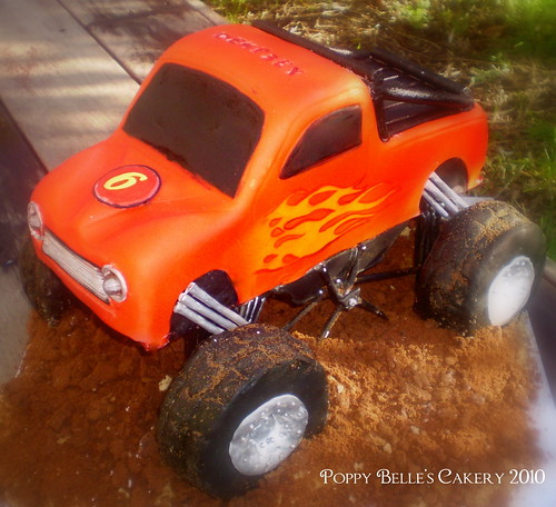 flashing monster logo. Monster Truck Cake With