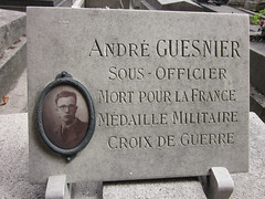Plaque with sepia ceramic photograph of a soldier killed in WWI - Andr Guesnier (Monceau) Tags: sepia plaque mortpourlafrance ceramicphotograph