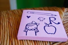 for a birthday gift (cathygaubert) Tags: apple birdie pencil heart stamp girlie handcarved rforrachel