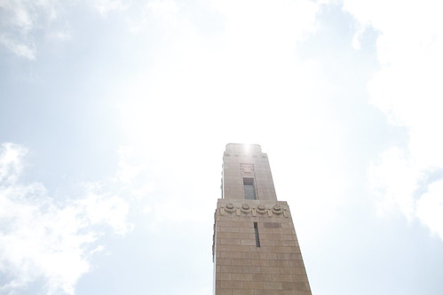 Brilliant sunlight bathing over an unidentified Brest monument