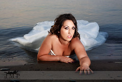 (Jennifer McCready Photography/Lady Luck Pin Ups) Tags: blue wedding portrait woman brown white ontario canada cold sexy beach water girl beautiful hair dance pretty married dress gorgeous makeup engaged lay grimsby trashthedress jennifermccreadyphotography