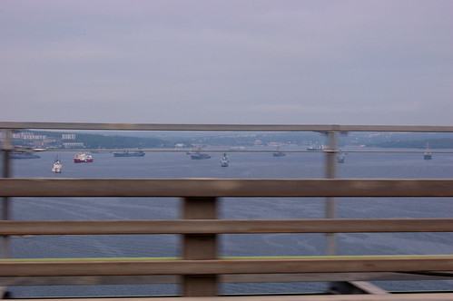 Bedford Basin, as seen from the MacKay bridge. I wanted to stop because an international naval fleet was in town for the Queen, but stopping on the bridge seemed imprudent. Thus the flyby and really not very good shot.