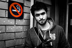 Contradiction !! (Faisal Al Suliman) Tags: bw man nikon smoke melbourne smoking nosmoking contradiction faisalalsuliman