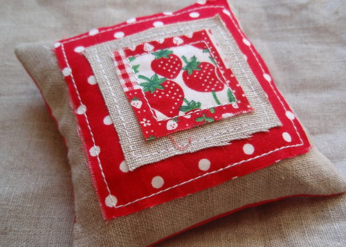 strawberry polka dot pin cushion