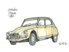 Liège, Dyane 1980 (gerard michel) Tags: auto car sketch croquis