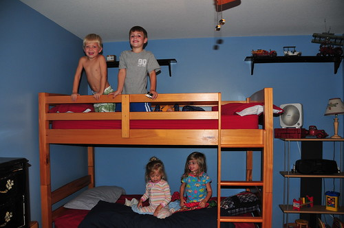 four kids one bed...