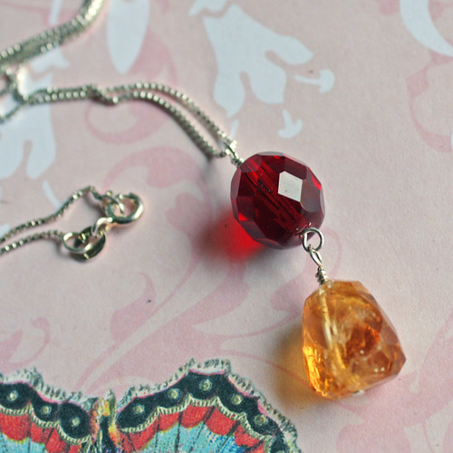 Citrine & burgundy glass necklace