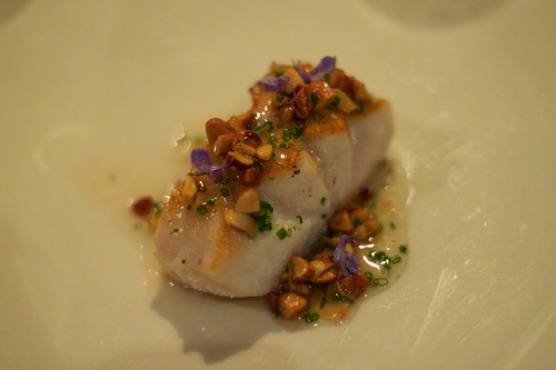 bass groper, almonds, garlic