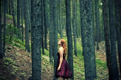 An illustrated look at the effect of dancing on your chances of spending eternity in hell (-Fearless-) Tags: trees tree green girl pine forest dress redhead pines trunks whispers pinetrees davidsbridal treeturnks