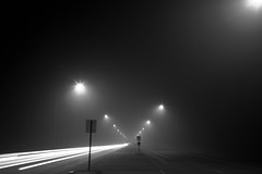 A road to nowhere (Nick, Programmerman) Tags: road vanishingpoint smoke lightstreaks 24105 5dii novisiblity