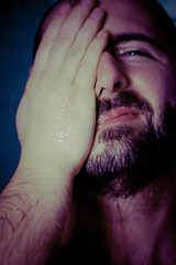 Qui (ale2000) Tags: summer portrait man hot male eye water face canon mouth naked fur beard shower 50mm cub furry warm estate uomo mano f18 acqua calore ritratto occhio bocca viso barba primopiano pelo giuseppe lightroom nudo beppe faccia showering caldo doccia 450d aledigangicom