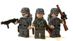 German Snipers & Officer (*Nobodycares*) Tags: mod lego wwii worldwarii ww2 soldiers guns troops officer axis worldwar2 snipers wehrmacht uas brickarms mmcb bricforge