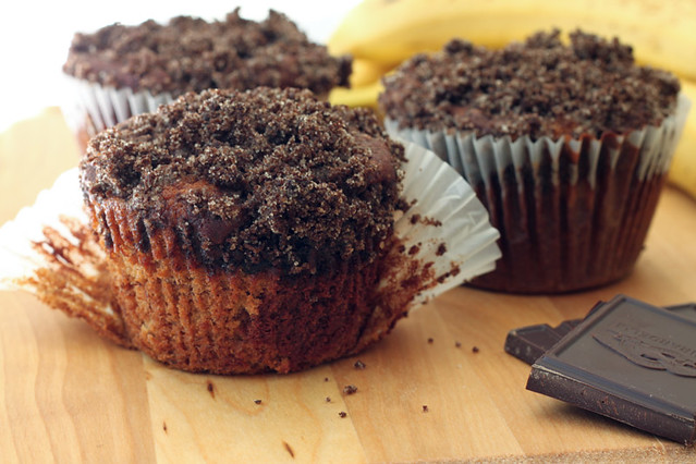 Marbled Chocolate Banana Muffins with Chocolate Graham Cracker Streusel