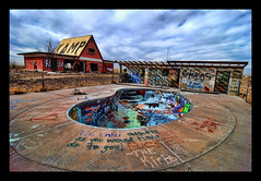 Abandoned barns and swimming pools in the ghost town of Two Guns, Arizona (Greg - AdventuresofaGoodMan.com) Tags: road two arizona usa art abandoned pool car barn rural america graffiti route66 nikon colorful driving greg decay painted roadtrip ghosttown guns koa goodman motherroad twoguns d80 nikond80 greggoodman