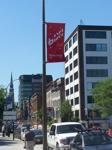 A street banner promoting the Bixi bicycle sharing program in Montreal