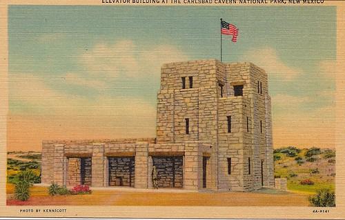 Postcard Carlsbad Caverns Elevator Building