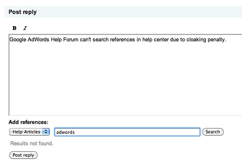 AdWords Help Center Failure