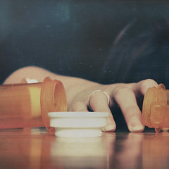 the fall (::fotorosso::) Tags: selfportrait fall texture me girl square amber hand bottles pills painkillers 525oftwentyten 525of2010 brokenandthenfixedstraightaway