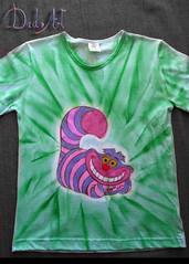 Gato -verde (Dado Art - Aerografias) Tags: arte artesanato tshirt airbrush camisetas aerografia customizao pinturaemtecido gatodecheshire gatodaalice