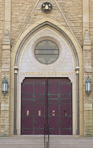 Cathedral of Saint Mary of the Immaculate Conception, in Peoria, Illinois, USA - main door