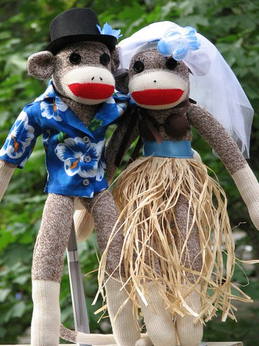 Hawaiian Wedding Sock Monkeys