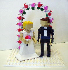 Bride and Groom with Arch 1 (Model Gal) Tags: flowers lego bouquet brideandgroom weddingcaketopper flowerarch