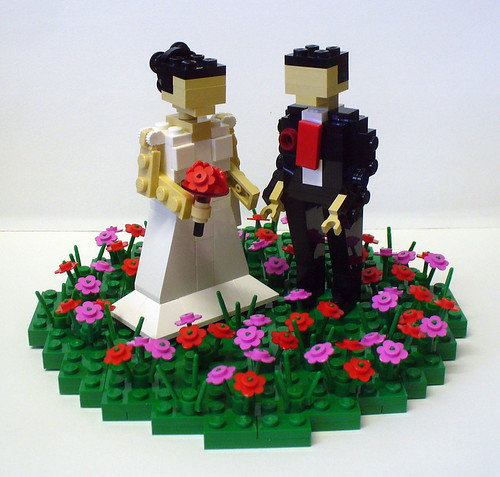 Bride and Groom with flower patch 1