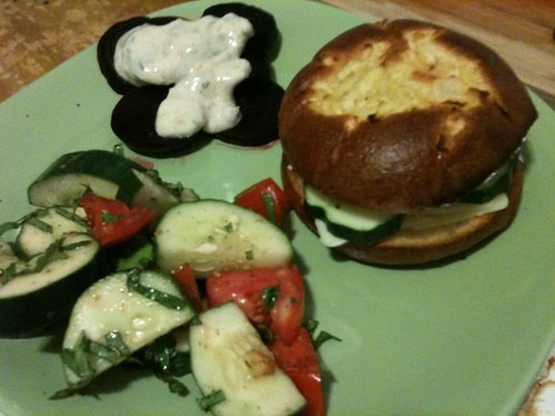 Cheese sandwiches, roasted beets, cucumber salad