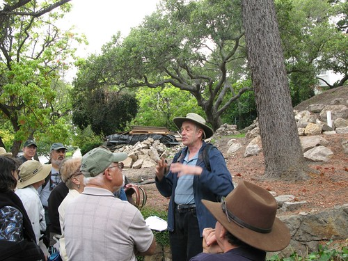 Bob detailing the history of the neighborhood. Photo