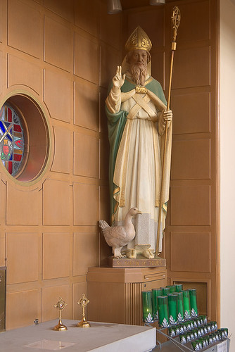 Saint Martin of Tours Roman Catholic Church, in Lemay, Missouri, USA - Statue of Saint Martin of Tours and relics