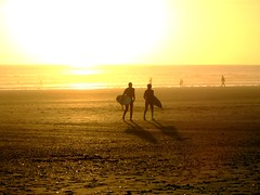 Surfers at Sunset at the watersplash