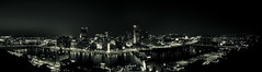 The Burgh Panorama (Andy S. Foster) Tags: summer bw panorama white black night river dark three washington high long exposure pittsburgh looking view pennsylvania pano down mount pa rivers split tones greenish toning burgh