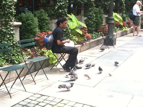 Guy feeding birds, Bryant Park