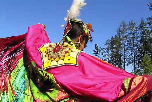 Shyama Priya, a Cree Nation Fancy Shawl Dancer Appears to Be Flying Over Trees, Surrey Fusion Festival 2010 Multicultural and Diversity Celebration in Greater Vancouver