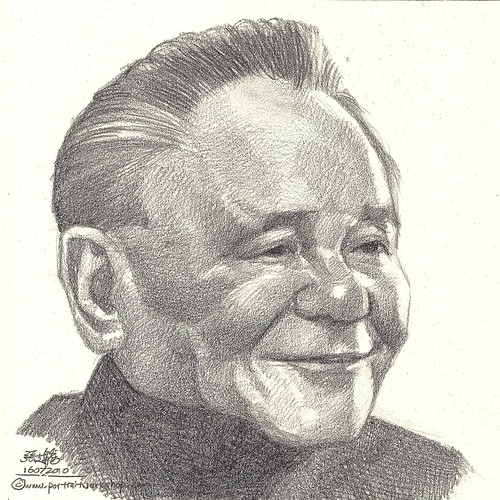 Pencil portrait of China Deng Xiao Ping