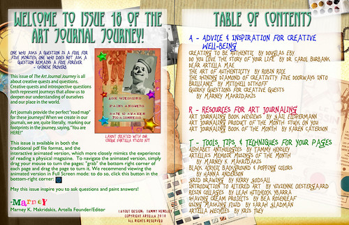 Table of content of Art Journal Journey