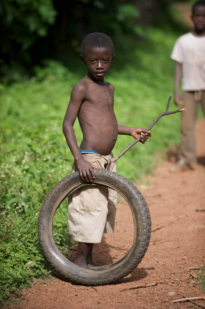 Boy and tyre